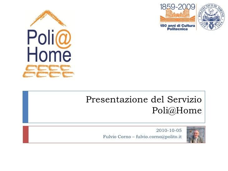 Presentazione Servizio Poli@Home