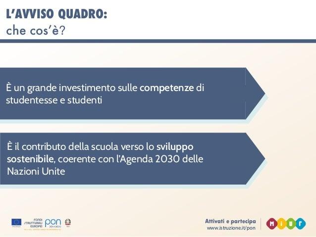 www.istruzione.it/pon Attivati e partecipa L'AVVISO QUADRO: che cos'è? È un grande investimento sulle competenze di studen...