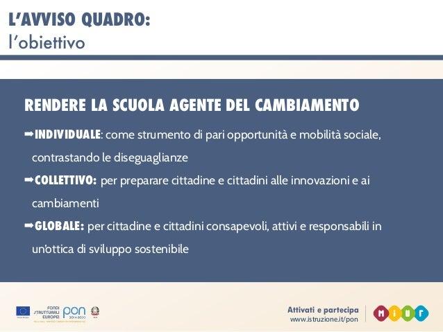 www.istruzione.it/pon Attivati e partecipa L'AVVISO QUADRO: l'obiettivo RENDERE LA SCUOLA AGENTE DEL CAMBIAMENTO ➡INDIVIDU...