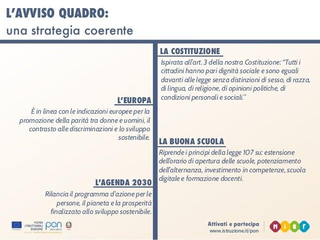 www.istruzione.it/pon Attivati e partecipa L'AVVISO QUADRO: una strategia coerente L'EUROPA È in linea con le indicazioni ...