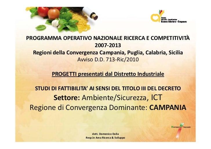 PROGRAMMAOPERATIVONAZIONALERICERCAECOMPETITIVITÀ                           2007‐2013  RegionidellaConvergenzaCamp...