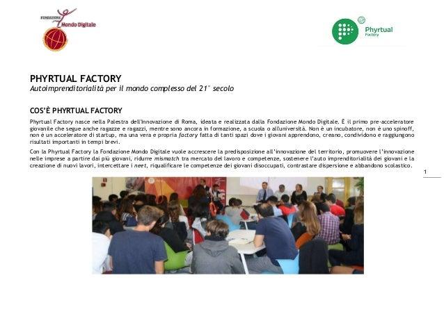 1 PHYRTUAL FACTORY Autoimprenditorialità per il mondo complesso del 21° secolo COS'È PHYRTUAL FACTORY Phyrtual Factory nas...