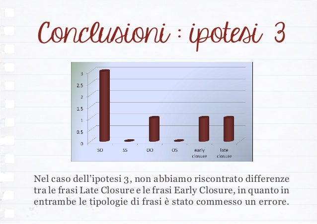 Nel caso dell'ipotesi 3, non abbiamo riscontrato differenze tra le frasi Late Closure e le frasi Early Closure, in quanto ...