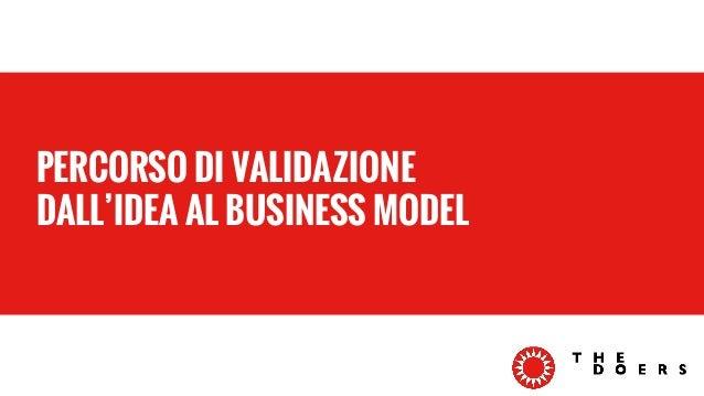 PERCORSO DI VALIDAZIONE  DALL'IDEA AL BUSINESS MODEL