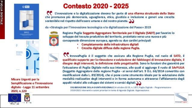 PUGLIA DIGITALE Contesto 2020 - 2025 L'innovazione e la digitalizzazione devono far parte di una riforma strutturale dello...