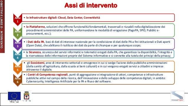 Assi di intervento Asse 1 • le Infrastrutture digitali: Cloud, Data Center, Connettività Asse 2 • le Piattaforme, soluzion...