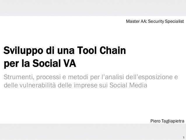 Master AA: Security Specialist  Sviluppo di una Tool Chain per la Social VA Strumenti, processi e metodi per l'analisi del...