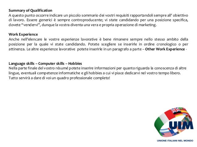 Lavorare In Inghilterra Resume And Cover Letter