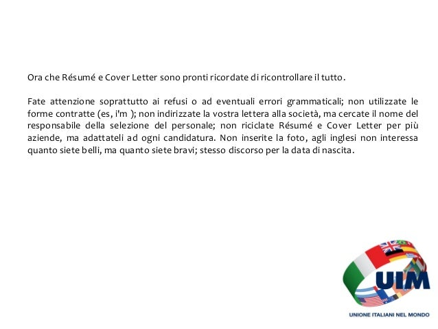 cover letter inglese autocandidatura