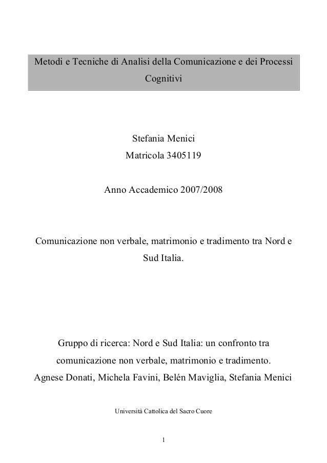 Metodi e Tecniche di Analisi della Comunicazione e dei Processi                              Cognitivi                    ...