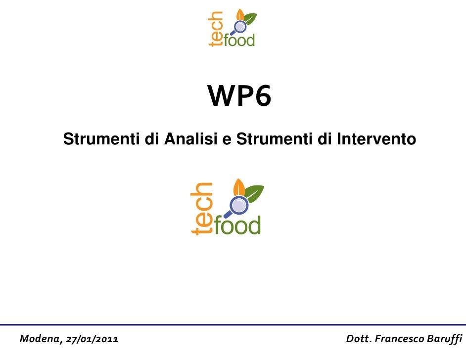 WP6       Strumenti di Analisi e Strumenti di InterventoModena, 27/01/2011                         Dott. Francesco Baruffi