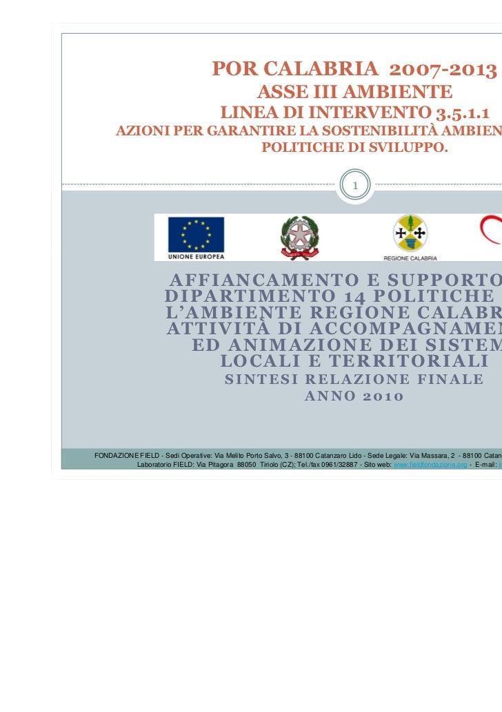 POR CALABRIA 2007-2013                                                  ASSE III AMBIENTE                                 ...