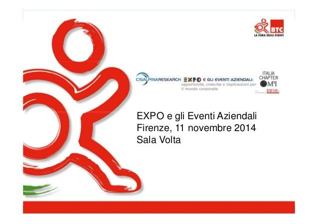 EXPO e gli Eventi Aziendali Firenze, 11 novembre 2014 Sala Volta