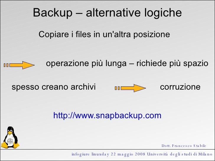 infogiure linuxday 22 maggio 2008 Università degli studi di Milano Backup – alternative logiche Copiare i files in un'altr...
