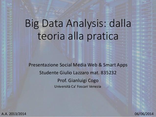 Big Data Analysis: dalla teoria alla pratica Presentazione Social Media Web & Smart Apps Studente Giulio Lazzaro mat. 8352...