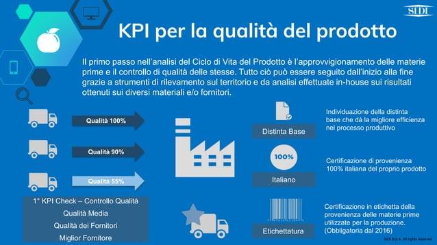 KPI per la qualità del prodotto Il primo passo nell'analisi del Ciclo di Vita del Prodotto è l'approvvigionamento delle ma...