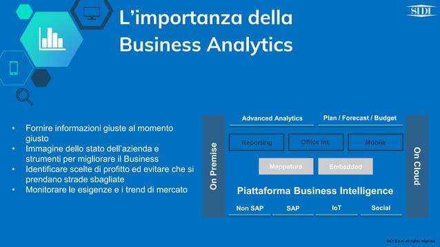 L'importanza della Business Analytics OnPremise OnCloud Advanced Analytics Plan / Forecast / Budget Piattaforma Business I...