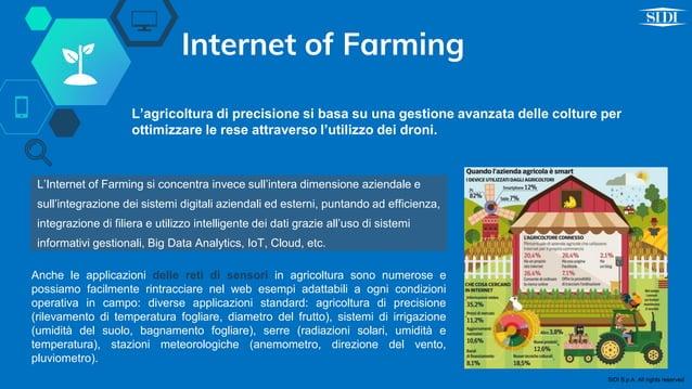 Internet of Farming Anche le applicazioni delle reti di sensori in agricoltura sono numerose e possiamo facilmente rintrac...