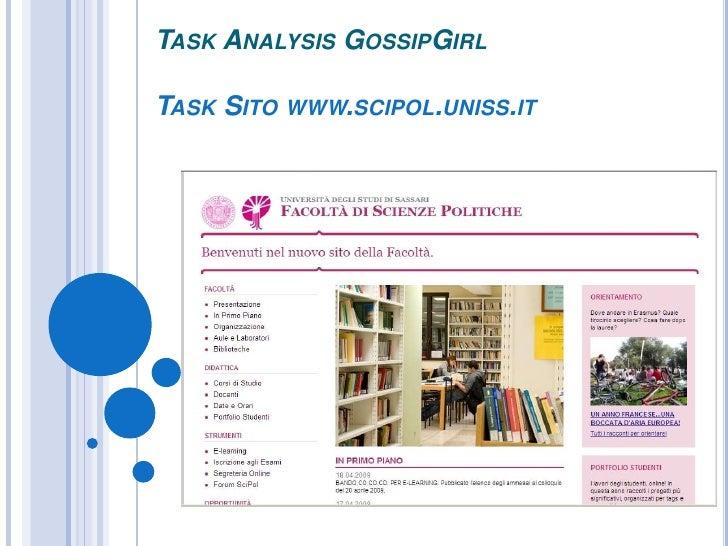 TASK ANALYSIS GOSSIPGIRL  TASK SITO WWW.SCIPOL.UNISS.IT