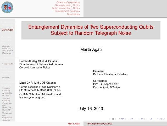 Entanglement Dynamics Marta Agati Quantum Computa- tion Quantum Computing and Quantum Mechanics Superconducting Qubits Cha...