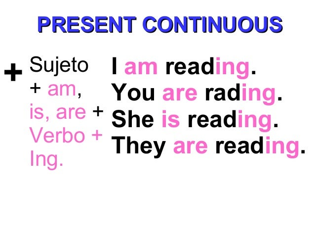 + Sujeto + am, is, are + Verbo + Ing. I am reading. You are rading. She is reading. They are reading. PRESENT CONTINUOUSPR...
