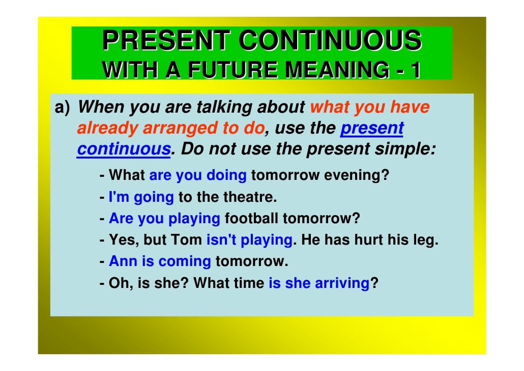 Present Continuous with Future Meaning - GrammarTOP.com