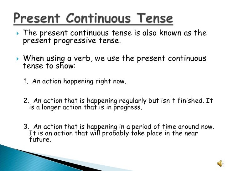 Present Continuous Verbs
