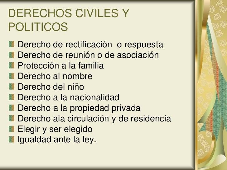 DERECHOS CIVILES YPOLITICOS Derecho de rectificación o respuesta Derecho de reunión o de asociación Protección a la famili...