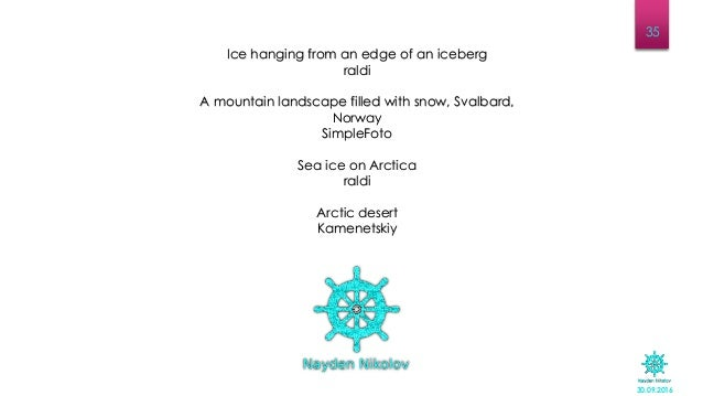 30.09.2016 35 Ice hanging from an edge of an iceberg raldi A mountain landscape filled with snow, Svalbard, Norway SimpleF...