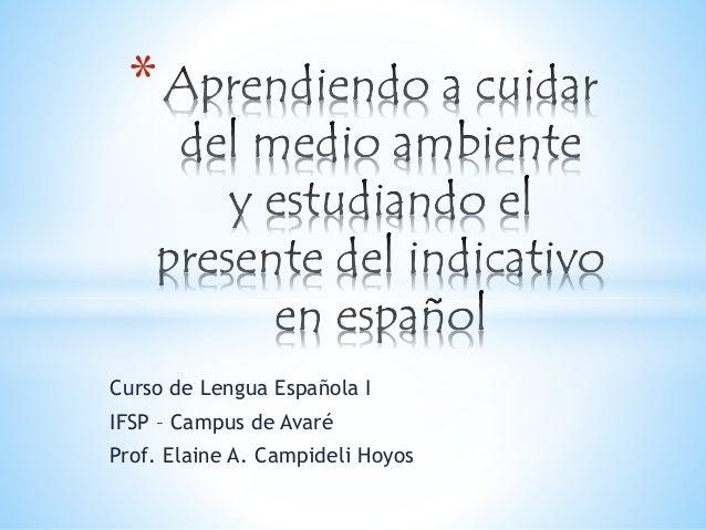 Curso de Lengua Española I IFSP – Campus de Avaré Prof. Elaine A. Campideli Hoyos *