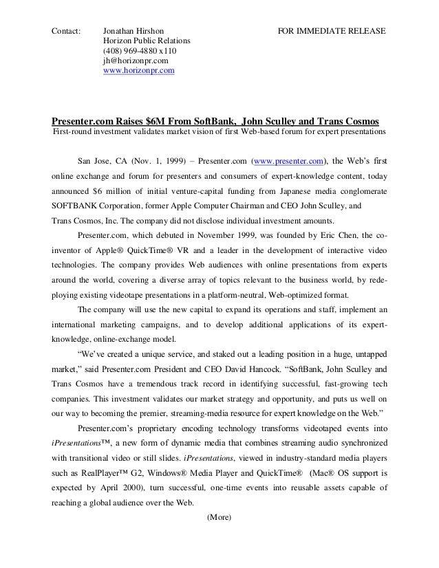 Contact:       Jonathan Hirshon                                  FOR IMMEDIATE RELEASE               Horizon Public Relati...