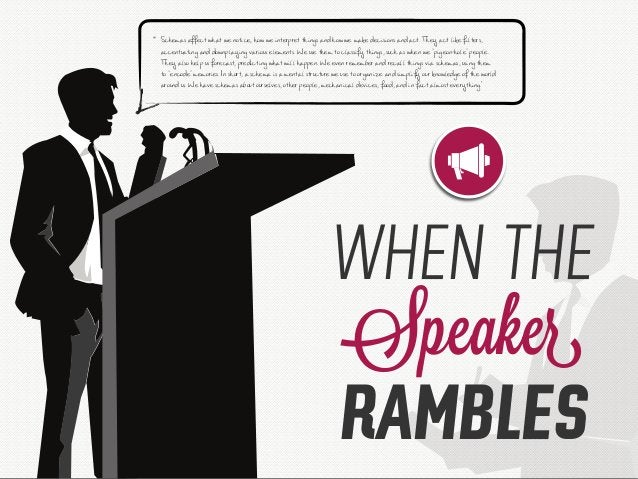 """WHEN THE Speaker RAMBLES """" Schemas affect what we notice, how we interpret things and how we make decisions and act. They ..."""