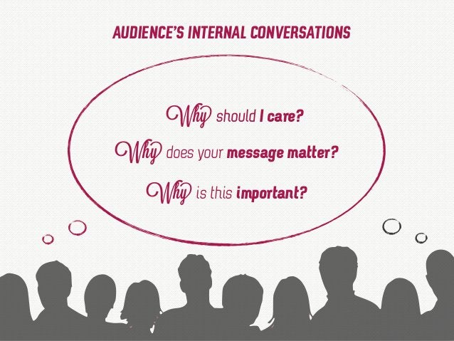 Why should I care? Why does your message matter? Why is this important? AUDIENCE'S INTERNAL CONVERSATIONS