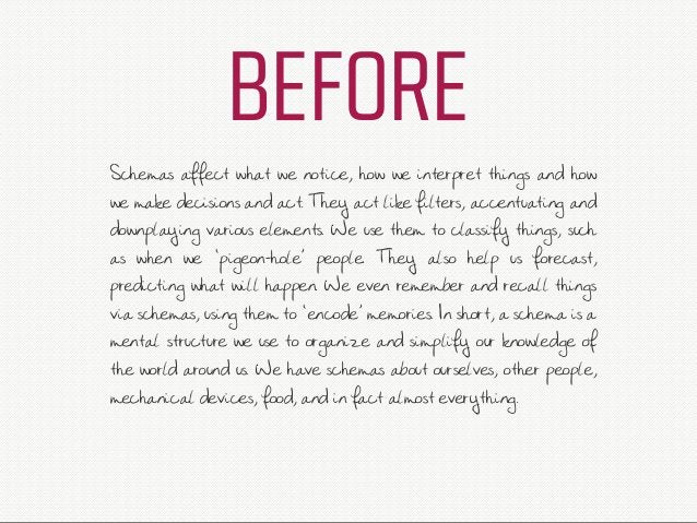 BEFORE Schemas affect what we notice, how we interpret things and how we make decisions and act. They act like filters, ac...