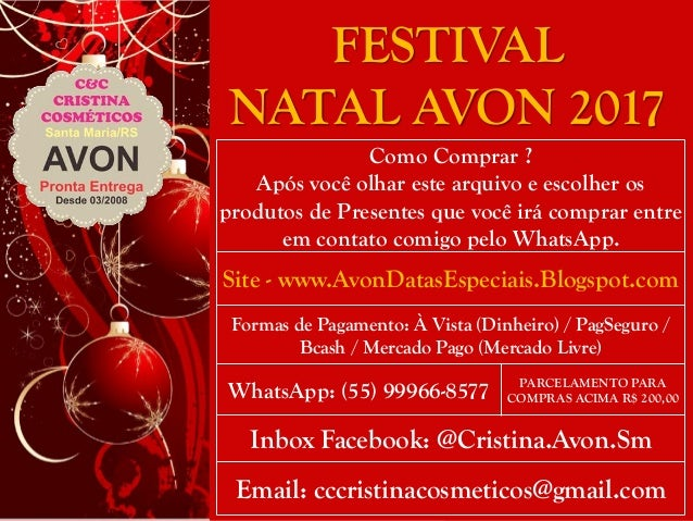 Presentes Natal AVON 2017 C&C CRISTINA COSMÉTICOS