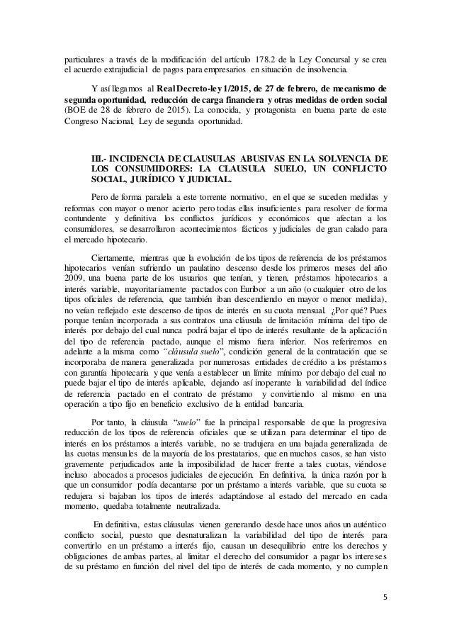 5 particulares a través de la modificación del artículo 178.2 de la Ley Concursal y se crea el acuerdo extrajudicial de pa...