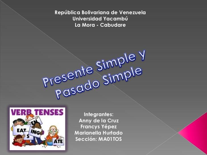 República Bolivariana de Venezuela      Universidad Yacambú       La Mora - Cabudare           Integrantes:        Anny de...