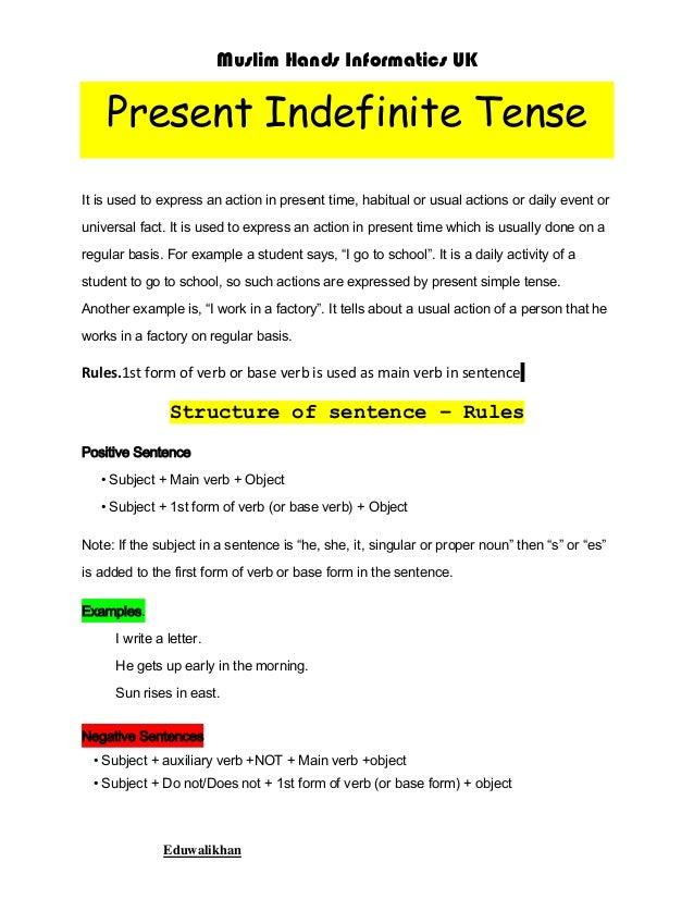 simple present tense examples pdf