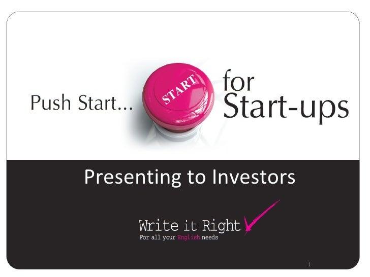 1 Presenting to Investors
