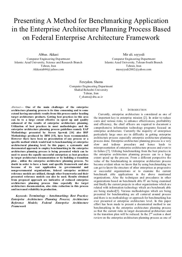 Presenting A Method for Benchmarking Applicationin the Enterprise Architecture Planning Process Based    on Federal Enterp...