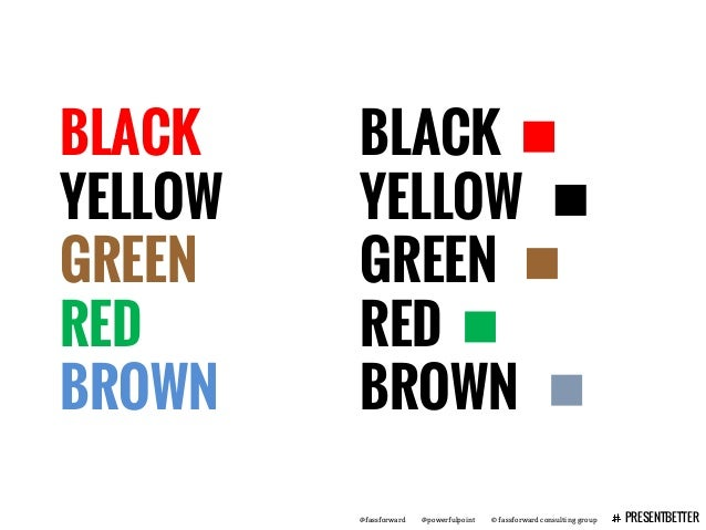 @fassforward @powerfulpoint © fassforward consulting group PRESENTBETTER BLACK YELLOW GREEN RED BROWN BLACK YELLOW GREEN R...