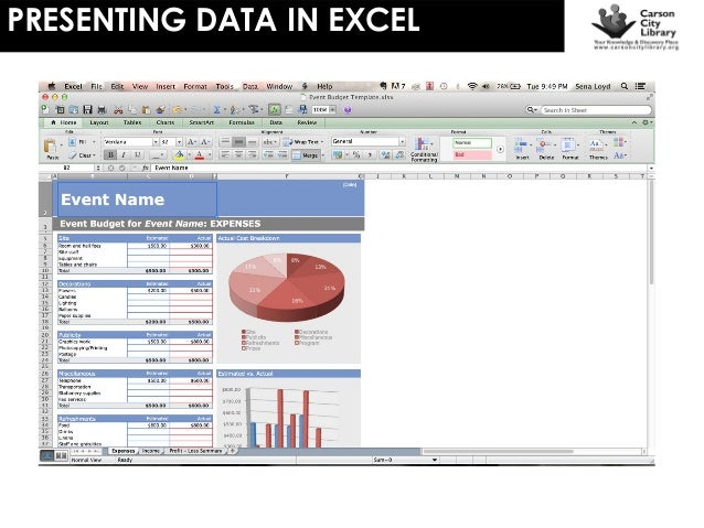 Presenting Data In Excel