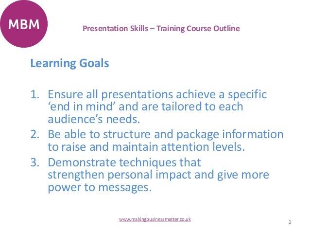 presentation skills training course outline