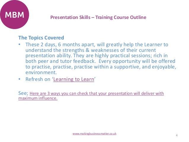 presentation skills course outline pdf