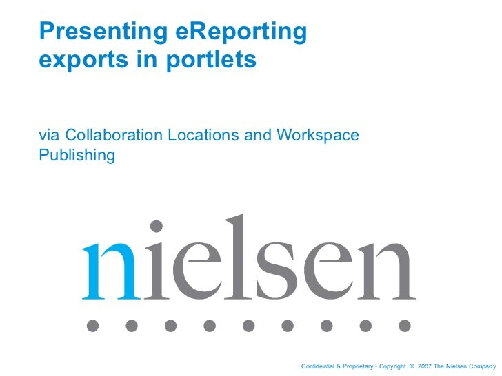 Presenting eReporting exports in portlets via Collaboration Locations and Workspace Publishing