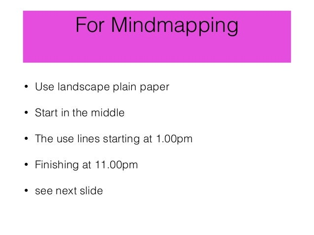 For Mindmapping • Use landscape plain paper • Start in the middle • The use lines starting at 1.00pm • Finishing at 11.00p...