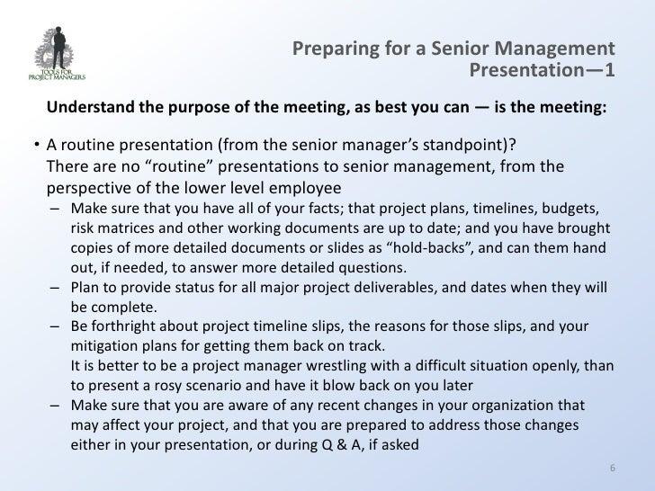 Sales presentation to senior management