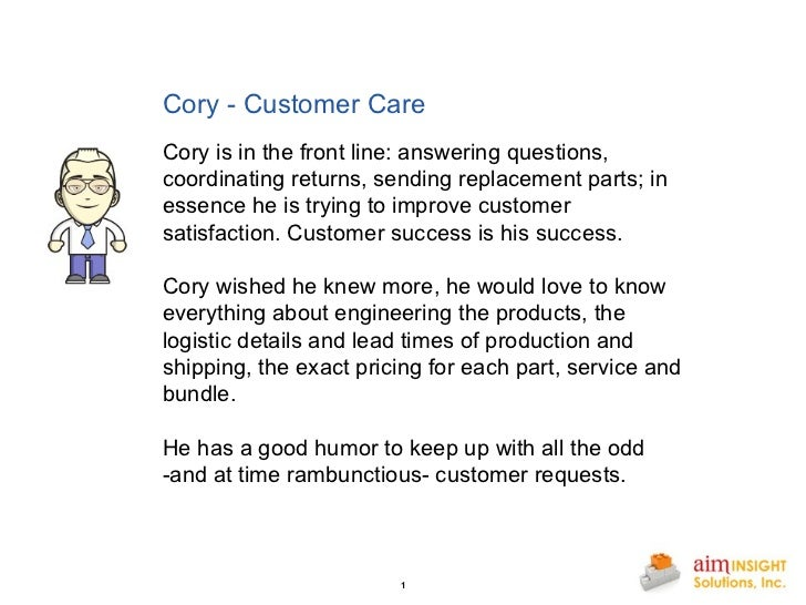 Cory - Customer Care       Cory is in the front line: answering questions, coordinating returns, sending replacement parts...