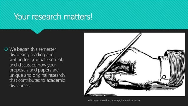 Your research matters!  We began this semester discussing reading and writing for graduate school, and discussed how your...