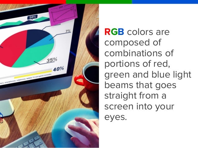 How to create colors with RGB? R: 255 0 0 0 G: 0 255 0 0 B: 0 0 255 0 Combine parts of the three primary colors red, green...